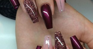 Gel nails pattern wine red ...