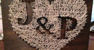 Similar Items Like Heart Nail String Art With Personalized Initial / Bri ...