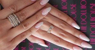 natural-looking gel nails with rhinestones