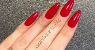 Nails red almond, red nails