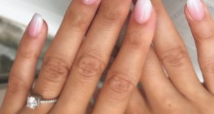 Nude pink and white ombré nails! Simple and natural nails. #ombrenails ...