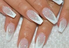 french manicure white pointed glitter elegant #nageldesign #nail #design #winter