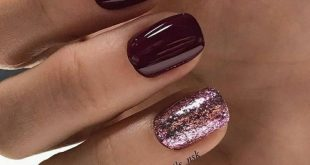 Burgundy maroon with pink glitter accents and short square nails