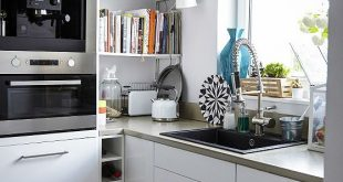 Ideas for kitchen planning: built-in appliances provide a neat appearance ...