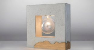 Inscribed concrete table lamp / concrete and wood by ArdomaDesign