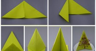 Napkins to fold the instructions of the green table pillar simple decoration