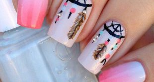 Pink nails with dreamcatcher Pink nails with a dream catcher