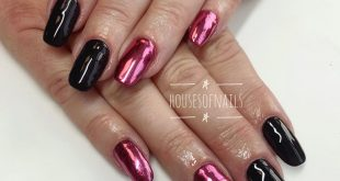 This is an acrylic overlay on natural nails, with gel polish and pink chrome pig
