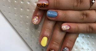 An unusual composition of hybrids on a natural nail plate