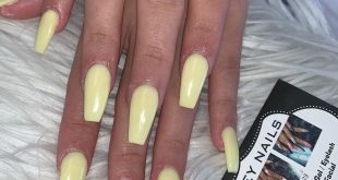 Pastel Yellow acrylic powder . Appointments booked through DMs loves!