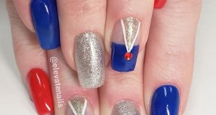 Sophisticated 4th of July set. Natural nail, hard gel overlay.