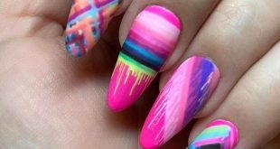 To infinity and NEON  Nails by  who created this vibrant set with  New Neons Col
