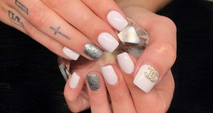 White Pastel Rose Nails with Chanel & Glitter  -