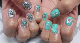 Chiguhagu Nail Concho parts painted green color . 120 minutes art unlimited ¥ 9000 (+ tax) . Charge ★ MAMI .