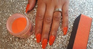 Autumn Orange SNS Overlay £30 SNS Extensions £35 Strength of Acrylic but soaks o