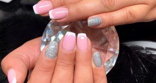 French and glitter nails -