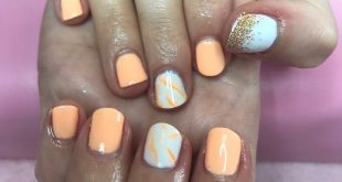 GEL NAILS for  , ombré glitter on the thumb and orange marble. September appoint