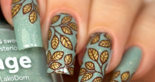 Leaves mani  I used  Sage by  stamped with  B044 From ground comes life plate.