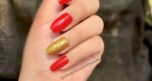 Red and Gold Scarlet red coffin nails with gold glitter ring finger addition! Pe