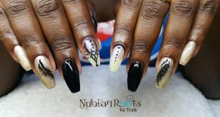 Acrylic Nails done at Nubian Roots by toya. For more information on products and