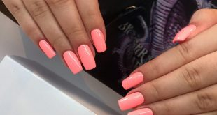 Beautiful neon hybrid manicure