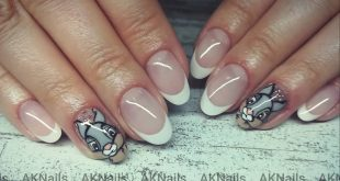 Gel nails with freehand painted nail art - Thumper bunny