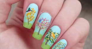 Lovely trees with tiny birds! This mani is so incredibly cute that I wore it for