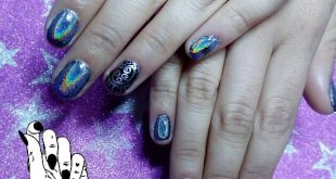 Much holo for Mayra Russian manicure + semi-permanent enamelling with hol effect