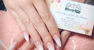 Long almond shaped gel nails with elegant baby boomer (the white tip ombre)  and