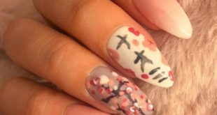 My nails today. Decided to do a cherry blossom theme with my name written on my
