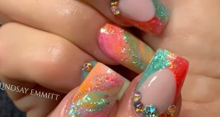 Summer vibes using: Glitterbels coloured acrylics Dragonfruit  Barbie Candy  Tif