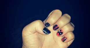 Deadpool nails I did on myself first try not to bad