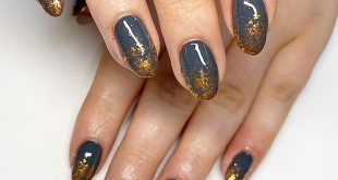 Infill & reshape natural nails with  biab and nightfall and  copper flare flakes