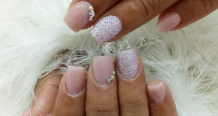Naked nails with sugar effect and crystals * * * * * *