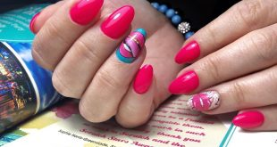 *One drop technique.  Bright pink and cool nail stickers, why not?