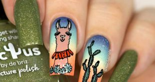 Reposted from  -  Lama nails with  Holiday, and Cactus by  ,  518,  Daisy daze,