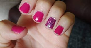 COMPARISON PHOTO Color Street accent nail with regular polish  Initial applicati