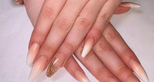 I love this pretty French fade with a glitter accent nail. Thanks