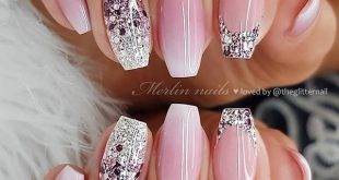 Pink Ombre with Glitter French and Glitter Ombre on Coffin Nails  •  Nail Artis