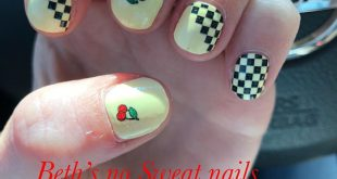 Cute and stylish, Checks and Cherries on  nails