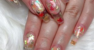 How beautiful with foil and fall leaves. Follow  Nails Lounge. . . . . . . . . .