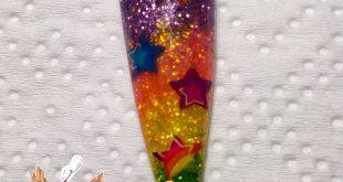 Lisa Frank Star themed Acrylic nail