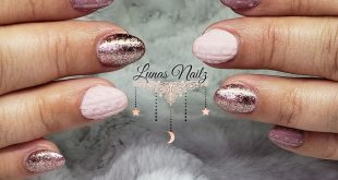 Mauve knit sweater nails
