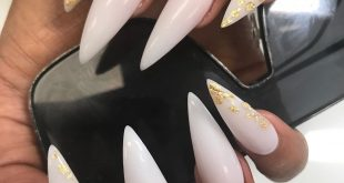 Soft white and gold foils nails         promote