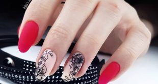 Tattoo nails with neon red in matte for lovely   hardware manicure gel base over