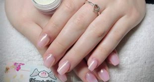 Veeeery short coffin shaped Gel Nails  with Glass Me effect from Indigo and pink