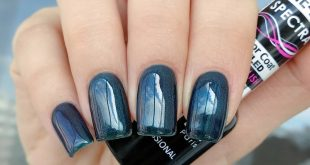Blue-green comrade 6713 from Spectra gel polish line)) Here, one layer of n