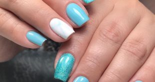 Permanent enamel in light blue tones with microglitter and marble-style design