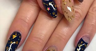 Starry night •Après gel extensions with all nail art