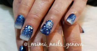 Winter nails with snowflakes  _ Follow us  for more nails  _